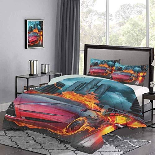 Funda de edredón de Hot Red Concept Car in Flames Neumáticos ardientes Construcción y pájaros Que aceleran Rápidamente Funda nórdica de Verano Suave y Exquisito Rojo Naranja Azul