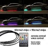 L.J.JZDY 12V RGB SMD Atmósfera Atmósfera Luces Música Control Remoto RGB LED Strip Debajo del automóvil Durno bajo Cuerpo Sistema de Neón Accesorios de luz (Color : 60cm 90cm Remote, Size : Gratis)