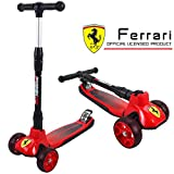 PROLOSO Ferrari Kick Scooter 3 Wheel Foldable Height Adjustable Scooter Lean-to-Steer with LED Light Up Wheels for Toddlers Kids Boys Girls Teens