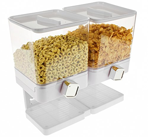 Dispensador de cereales doble Dispensador individual blanco dep/ósito de alimentos secos contiene 19 onzas de alimentos individual La m/áquina