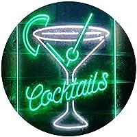 Cocktails Cup Glass Drink Display Dual Color LED看板 ネオンプレート サイン 標識 白色 + 緑色 300 x 400mm st6s34-i3556-wg