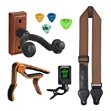 Guitar Wall Hanger Guitar Strap Guitar Wall Stand accessories set include Guitar Capo Guitar Hanger and Guitar Tuner For Acoustic Guitar,Electric Guitar,Bass,Ukulele,Banjo