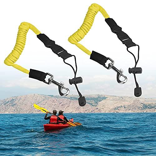 FIGFYOU 2 PCS Correa Elástica de Remo Cordón Elástico de Seguridad para Remos Kayak Paddle Correa Soporte de Cuerda Kayak para Barco de Kayak, Poste de Pesca, Cuerda de Amarre, Barco Fijo (Amarillo)