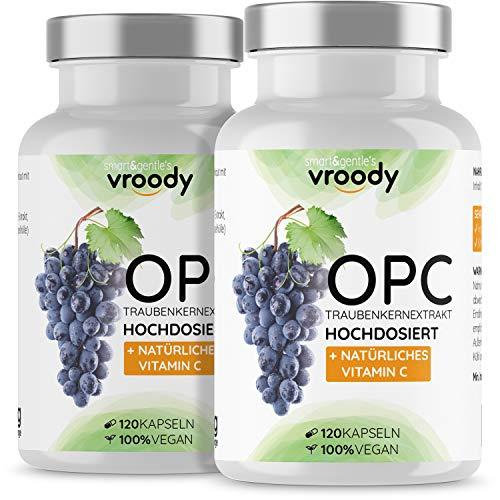 2x OPC Traubenkernextrakt hochdosiert mit natürlichem Vitamin C - 2x 120 OPC Kapseln (12 Monate) mit Acerola, 100% vegan & natürlich, OPC hochdosiert nur eine Kapsel täglich, 95% Wirkstoffanteil