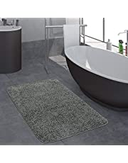 Modern Badkamervloerkleed Effen Hoogpolige Badkamervloerkleed Anti-Slip In Grijs