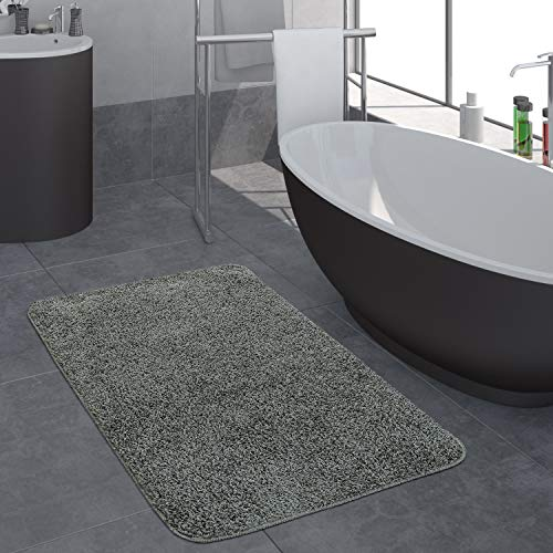 Paco Home Moderner Badezimmer Teppich Einfarbig Hochflor Badteppich rutschfest In Grau, Grösse:80x150 cm