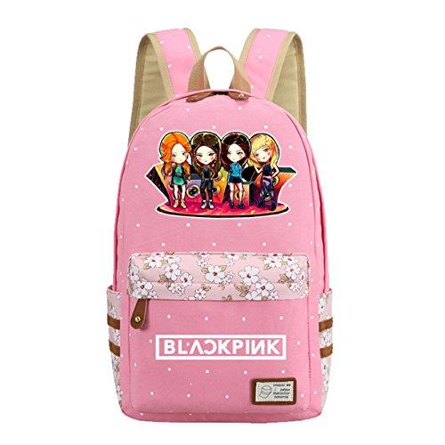 JUSTGOGO KPOP BLACKPINK Backpack Daypack Laptop Bag College Bag Book Bag School Bag - pink - Large