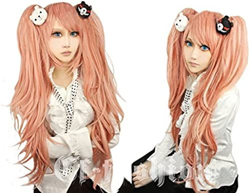 Cf-fashion Dangan-ronpa Junko Enoshima Cosplay Long Cuyly Wig with 1 Pair Bear Hair Clip for Halloween Carneval + Free Wig Cap by Cfalaicos