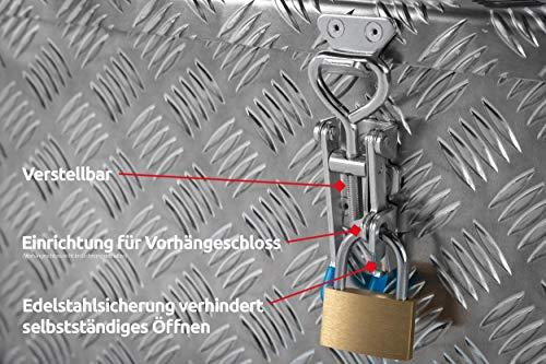 """Deichselbox, Premium, aus Alu Riffelblech 2,5/4 mm, Staubox, Truckbox, Werkzeugkasten, Gurtkiste, B 914 x H 190 x T 387 mm Inhalt: ca. 65 Ltr.""""Made in Germany"""" - 6"""
