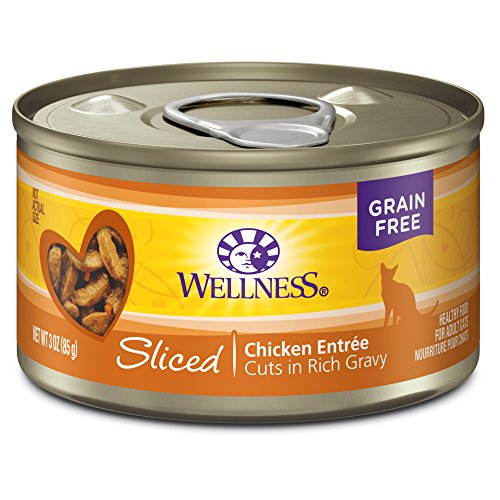Wellness Complete Health Natural Grain Free Wet Canned Cat Food, Sliced Chicken Entree, 3-Ounce Can (Pack of 24)