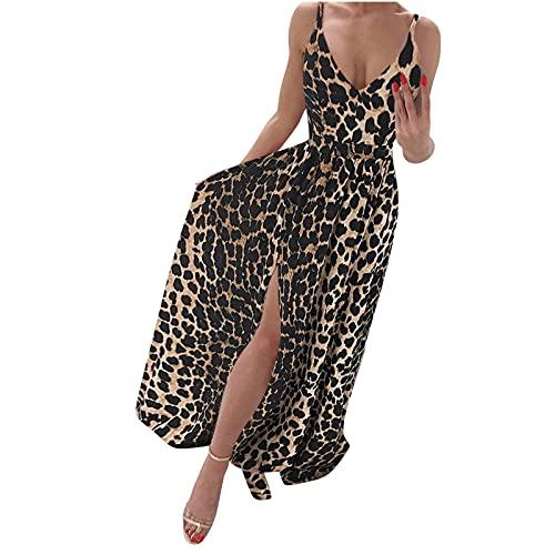 Sommerkleid Damen, Kleider Damen Sommer Kurz, Lässiger Hosenträgerrock für Damen mit digital bedrucktem V-Ausschnitt geschlitztem Wischkleid lässiges Kleid Maxikleid Strandkleid Sexy Abendkleid