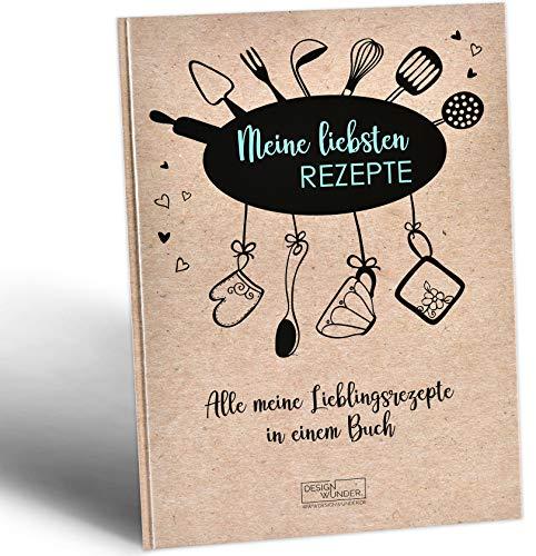DESIGN WUNDER® Rezeptbuch zum Selberschreiben A4 aus 100{d0ad6128cbbb51c19c8561892170fe25d2adcbbf83dd2a2bb6f2951687169ca6} recyceltem Papier - Meine Lieblingsrezepte zum Selberschreiben & Ausfüllen gesammelt im eigenen Rezeptbuch - DIY Kochbuch selbst schreiben