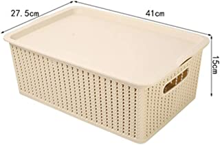 PPCP Household Plastic Storage Basket Rectangular Storage Box (Color : Beige)