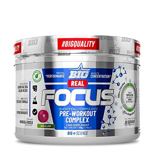 BIG - Real Focus | Preentreno gimnasio con cafeína (300mg) | Reduce la sensación de cansancio | Maximiza la concentración durante el entreno | Retrasa la aparición de la fatiga | 30 tomas