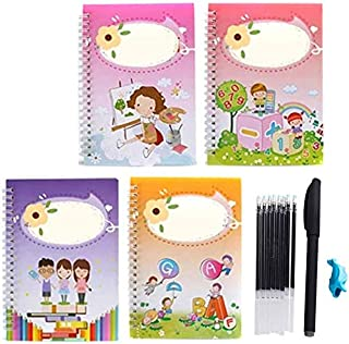 Magic Calligraphy That Can Be Reused Handwriting Copybook Set for Kid Calligraphic Letter Writing (4book and 1 Set Pen.)