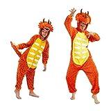 Pigiama Kigurumi Animale Costume per Carnevale, Halloween, Festa, Cosplay Tuta Adulti e Bambini (Altezza 115-125cm/120, Dinosauro Arancione)