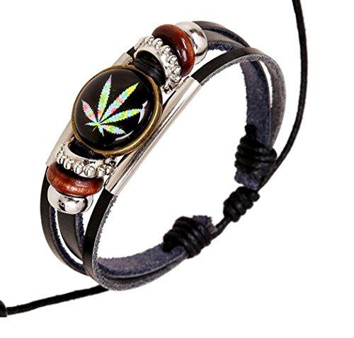 gudeke Medical Marijuana Weed Pot Leaf Cannabis Schwarz Echtes Leder Seil Armband Armreif Holz Bead, verstellbare