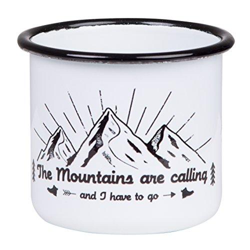 The Mountains Are Calling - Hochwertige Emaille Tasse mit Outdoor Design, leicht und bruchsicher, für Camping und Trekking - von MUGSY.de