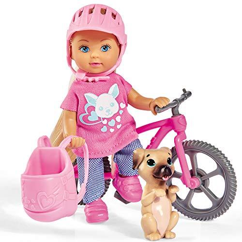 #1018 Evi Love auf Ihrem Fahrrad mit Helm und Rucksack inklusive Hund • Ferien Spaß Modepuppe Ankleidepuppe Anzieh Puppe Spiel
