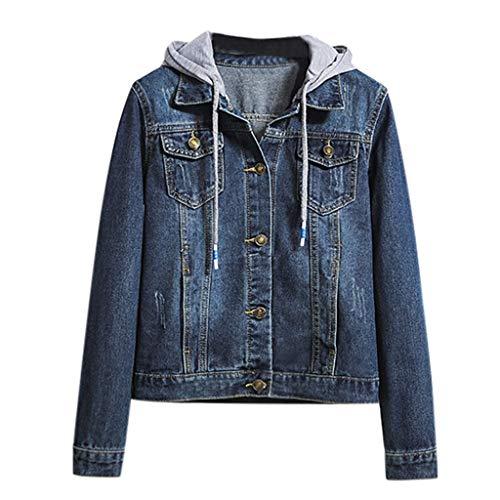 Dtuta Damen Langarm Panel Hoodie Jeansjacke Jacke mit Brusttasche, Womens Ladies Slim-Fit Lightweight Hooded Sweat Jacket Sweatshirt Sweatjacke Coat