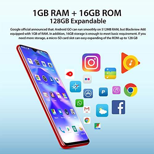 Blackview A60 Smartphone ohne Vertrag Günstig 15,49 cm (6,1 Zoll) HD+ Display, 4080mAh Akku, 13MP+5MP Dual Kamera, 16GB ROM, 128 GB erweiterbar Dual SIM Android Einsteiger Handy - Deutsche Version - 5