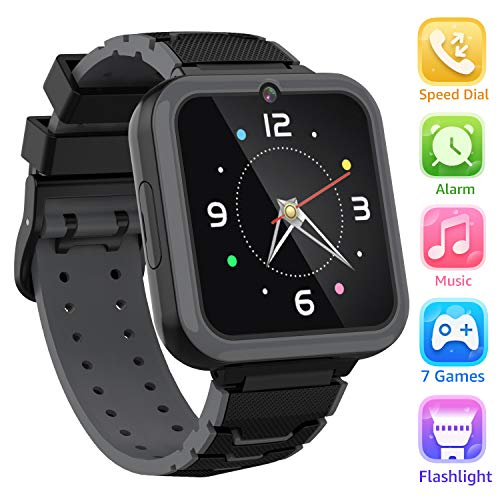 Kinder Smart Watch Telefon - HD Touchscreen Smartwatch für Mädchen Jungen mit 7 Spielen Musik Player Taschenlampe Anruf SOS Kamera Wecker Lernspielzeug Uhr Kinder Geburtstagsgeschenke 3-12 (Schwarz)