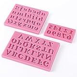 Moldes de silicona para tartas en 3D con forma de letra inglesa y número, 3 unidades, color rosa