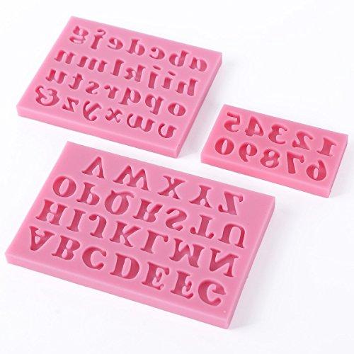 Ndier Moldes de Silicona para Tartas, diseño de Letra Inglesa en 3D, 3 Unidades, Color Rosa