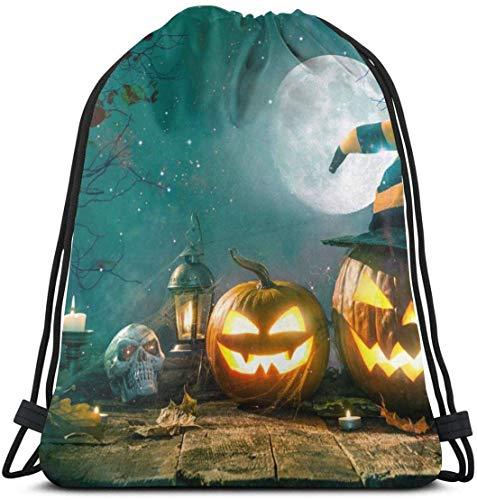 NA Halloween Pompoen Hoofd Jack Lantaarn Met Brandende Kaarsen Aangepaste Klassieke Draagbare Trekkoord Rugzak, 14,2