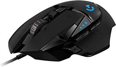 Logitech G502 Hero High Performance Wired Gaming Mouse, Hero 16K Sensor, 16,000 DPI, RGB, Adjustable Weights, 11 Programmable Buttons, On-Board Memory, PC/Mac - Black