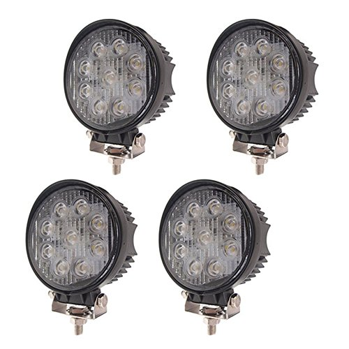 LARS360 27W LED Arbeitsscheinwerfer Offroad Flutlicht Fluter 10V-30V Rückfahrscheinwerfer Zusatzscheinwerfer Scheinwerfer Für Trecker KFZ Bagger SUV, UTV, ATV (4 Stück runden)