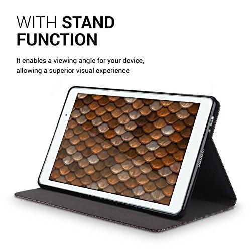 kwmobile Hülle für Huawei MediaPad T2 10.0 Pro - Tabletcover Slim Case Tablet Schutzhülle - Smart Cover Tabletcase Canvas Design Braun - 5