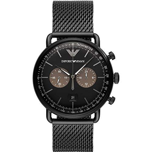 Emporio Armani Herren Chronograph Quarz Uhr mit Edelstahl Armband AR11142
