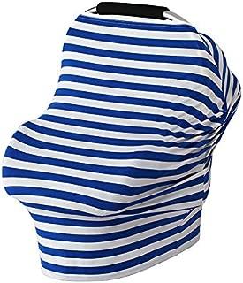 【YuHaru】 授乳ケープ 授乳カバー ベビーカーカバー 遮光 防風 伸縮自在 ポンチョ型 ボーダー柄 ブルー
