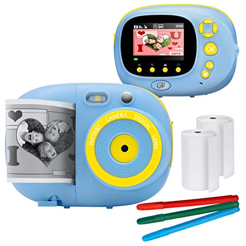 "Sunny & Fun Crafty Cam | Best Gift for Boys Girls | Kids Instant Print Camera & Video Camcorder Bundle with 2.4"" HD Screen, Selfie Mirror, Filters for Hours of Fun & Crafts - Blue"