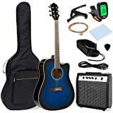 Best Choice Products 41in Full Size Acoustic Electric Cutaway Guitar Set w/ 10-Watt Amplifier, Capo, E-Tuner, Gig Bag, Strap, Picks (Blue)