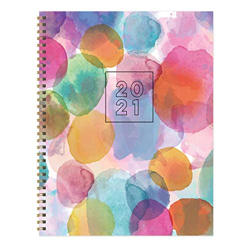 TF PUBLISHING 2021 Watercolor Dot Large Weekly Monthly Calendar Planner - Appointment, Agenda, Notes, Stickers, Tracker - Home or Office Planning and Organization-Premium Thick Uncoated Paper 8.5'x11'