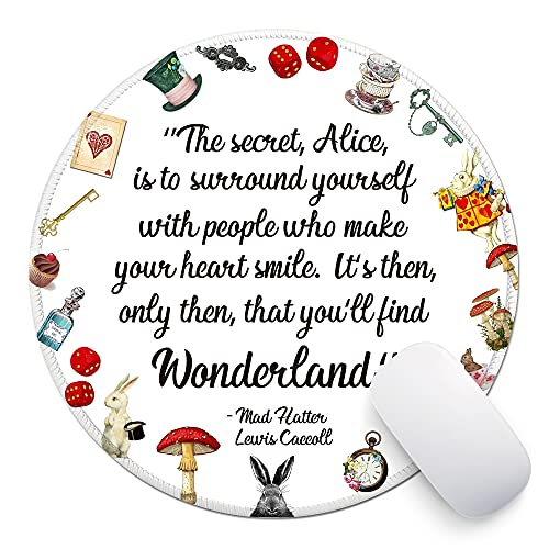 ZHANTUONE Alice in Wonderland Round Mouse pad with Non-Slip Rubber and Stitched Edges Desk Accessories Office Gifts for Women Friends Besties Daughter Graduation Friendship Birthday Gift