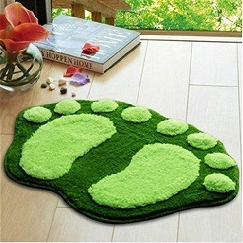 Airblasters Microfiber Lovely Flocking Big Feet Pad Floor Mat Bedroom Area Rug Carpet 58.538.5cm(Green)