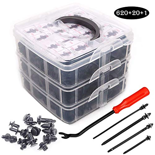 UTSAUTO 620Pcs Car Retainer Clips & Plastic Fasteners Kit Fender Rivet Clips 16 Most Popular Sizes Auto Push Pin Rivets Set for Toyota GM Ford Honda Acura Chrysler