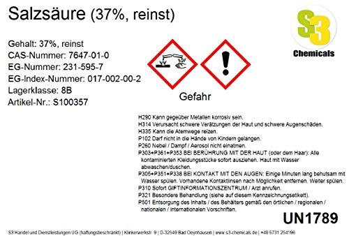S3 Chemicals Salzsäure (37%, reinst) Gebindegröße 250ml
