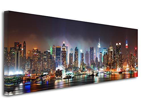 DECLINA Tableau Panorama New York by Night - Impression Photo Ville sur Toile décoration Murale Paysage - Déco Maison, Cuisine, Salon, Chambre Adulte - Multicouleur 120x50 cm