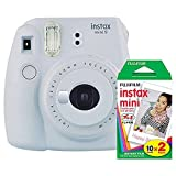 Fujifilm instax Mini 9 Instant Camera (Smokey White) and instax Film Twin Pack (20 Exposures) Bundle