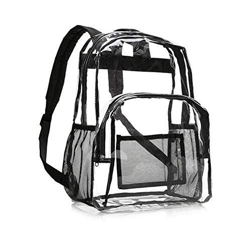 courti Klarer Rucksack Plastik Schulrucksack Schultasche,Transparent Wasserdicht Durchsichtig Strapazierfähige PVC-Buch-Tasche Clear Backpack für Schule Theater und Beruf -Schwarz