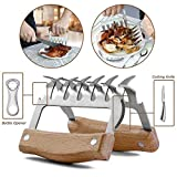 GHEART Meat Claws Shredder BBQ Bear Claws Stainless Steel Set Metal Pulled Pork Chicken Barbecue Kitchen Claws with Wood Handle for Shredding, Pulling, Lifting Set of 2