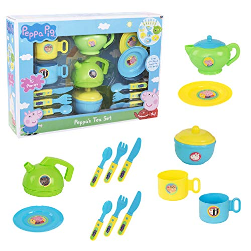 Peppa Pig Cutlery & Tea Dinner Set | Includes Teapot, Jug, Bowl, Saucers & More | Fun Toddler Tea Pot Set for Little Boys & Girls Age 3 Years +