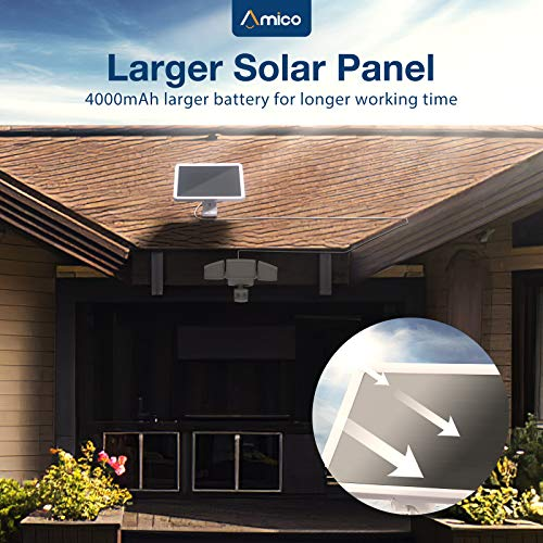 Amico LED Solar Security Lights Outdoor Motion Sensor, 2000LM 5000K Daylight White Waterproof Exterior Solar Light with 4000mAh Battery, 3 Adjustable Head Outdoor Flood Light for Garage, Yard, Deck