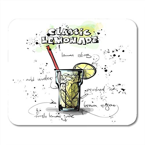 Mousepad,Künstlerische Schwarze Cocktail-Hand Gezeichnet Mit Limonade Sketch Style Collection Drawing Bar Lustige Druckpads,25X30CM