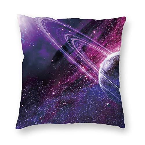 Funda de cojín sin marca de doble cara impresión púrpura espacio exterior universo planeta cubierta de cojín corto de felpa con cremallera oculta cómoda cuadrada para salón sofá cocina 18 x 18 pulgadas