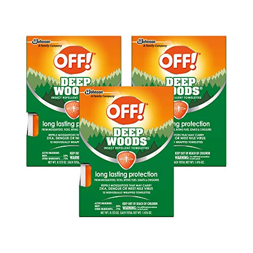 OFF! Deep Woods Mosquito and Insect Repellent Wipes, Long lasting, 12 Individually Wrapped Wipes (3)
